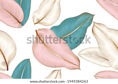 Vintage luxury seamless floral background with tropic exotic golden leaves. Romantic pattern template for wall decor, wallpaper, wedding invitations, ceremonies, cards. Foto stock ©