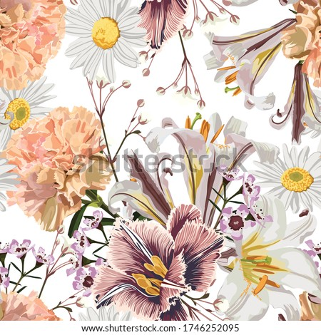 Vintage luxury seamless pattern with detailed hand drawn flowers - blooming lilies, daisy, beige carnation and herbs. Foto stock ©