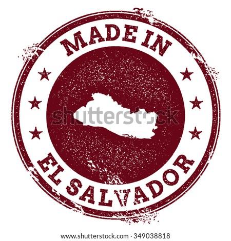Vintage Made in El Salvador stamp. Grunge rubber stamp with Made in El Salvador text and country map, vector illustration