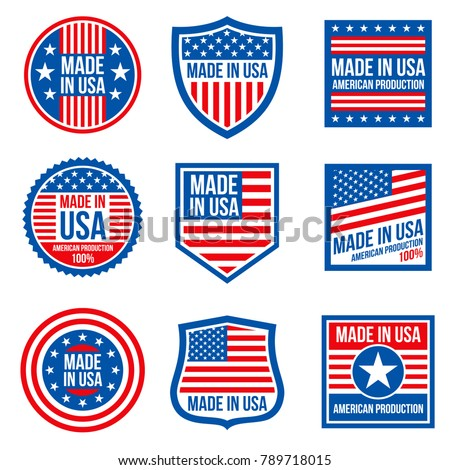 Vintage made in the usa vector badges. American patriotic icons. Illustration of label made in america