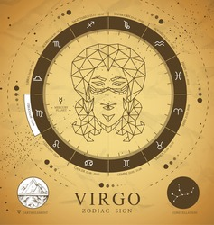 Vintage magic witchcraft card with astrology Virgo zodiac sign. Polygonal woman head. Zodiac characteristic