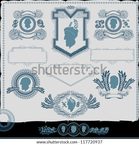 vintage man face silhouette - stock vector