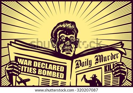 vintage man reading tabloid...