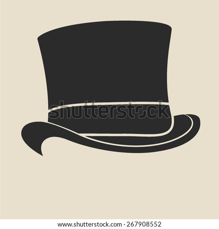 vintage man's top hat label
