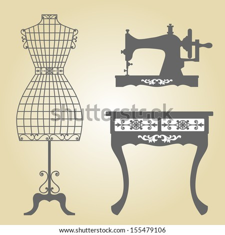 Vintage Mannequin and Sewing Machine Vector.