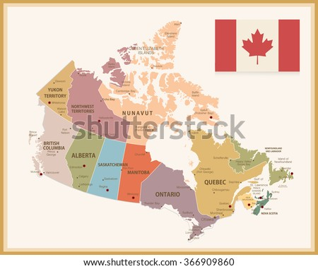 vintage map of canada with flag