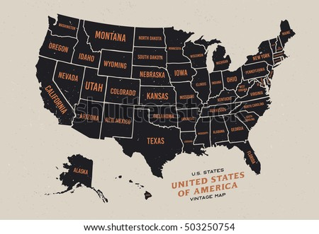 vintage map of united states of