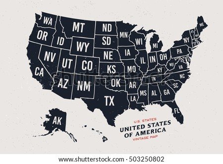 vintage map of united states of america 50 states vector map isolated on light background