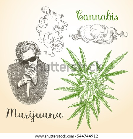 vintage marijuana and smoke