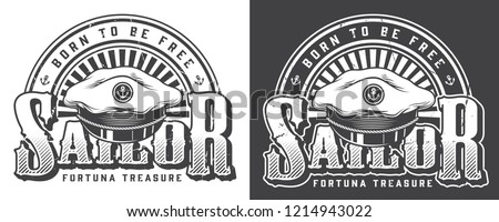 Vintage marine and nautical logo with inscription and sea captain hat in monochrome style isolated vector illustration