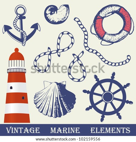 Vintage marine elements set. Includes anchor, rope, wheel, lighthouse and shells. - stock vector