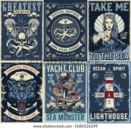 vintage marine posters set with