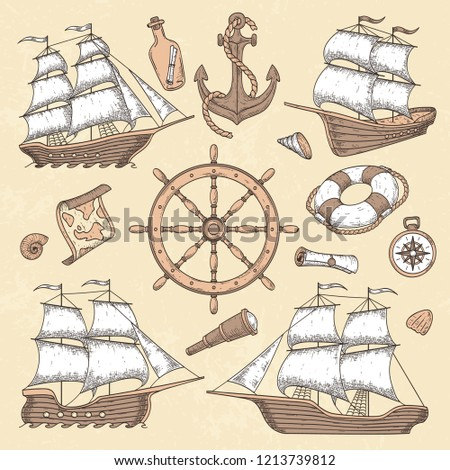 Vintage marine ships. Old cartouche frame, ship anchor and sea wheel with ancient compass. Ocean sailboat insignia, maritime nautical antique sail boat retro vector illustration icons set