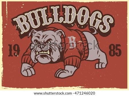 vintage mascot of bulldog