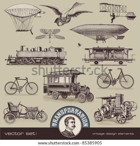 vintage means of transportation - set 2