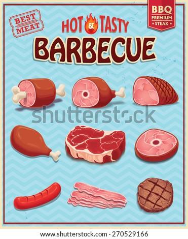 Vintage meat for BBQ design set