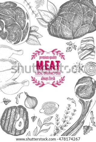Vintage meat frame. Vector illustration. Linear graphic design. Hand drawn illustration. Meat design template. #478174267