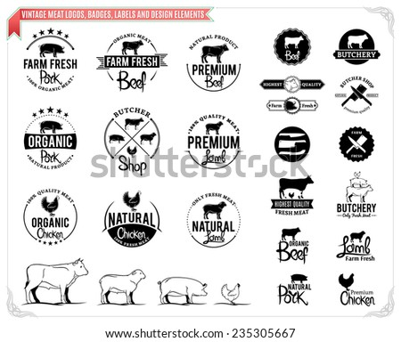Vintage meat logos, badges, labels and design elements