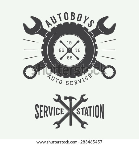 vintage mechanic label  emblem...