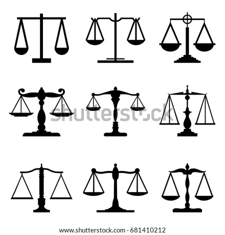 Vintage mechanical balance scales Fair Equal Judge icons Vector
