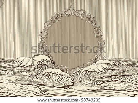Vintage medallion surrounded bye water waves