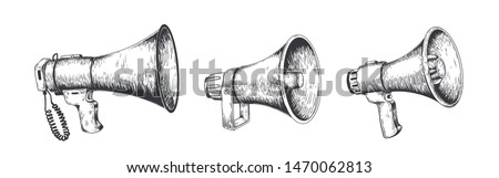 Vintage megaphone. Hand drawn loud speaker for announcements, bullhorn sketch news or public attention. Vector loudspeaker broadcast announcement set