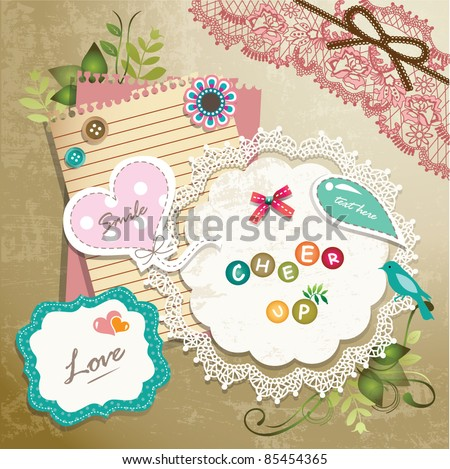 vintage memo scrapbook elements
