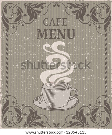 Vintage menu background with a cup