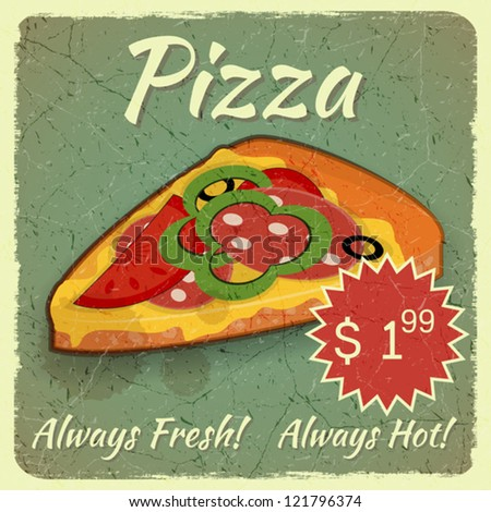 Vintage menu, Grunge Card with Slice of Pizza, place for Price - vector illustration