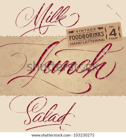 vintage menu headlines set  - handmade calligraphic food & drinks inscriptions with grunge effect; vector illustration (eps8);