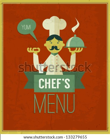 Vintage menu. Retro design template. Vector chef\'s menu illustration. Cartoon chef with dish on red grungy background. Menu cover design template. Yum!