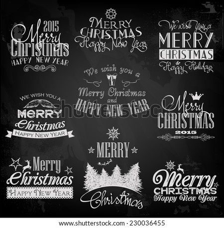 Chalkboard Style Retro Christmas Cards Download Free Vector Art