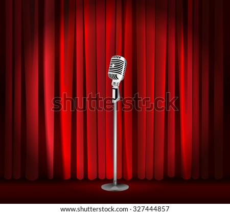 Vintage Metal Microphone Against Red Curtain Backdrop. Mic On Empty Theatre  Stage, Vector Art