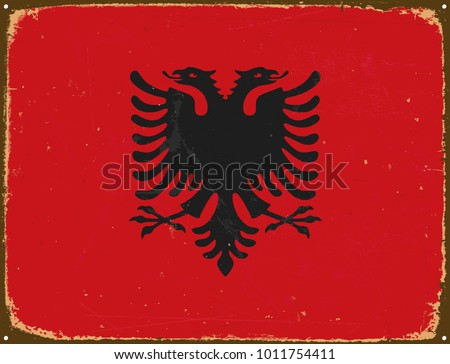 Vintage Metal Sign - Albania Flag - Vector EPS10. Grunge scratches and stain effects can be easily removed for a cleaner look.