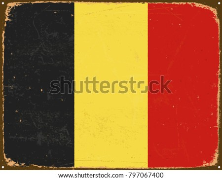 Vintage Metal Sign - Belgium Flag - Vector EPS10. Grunge scratches and stain effects can be easily removed for a cleaner look.