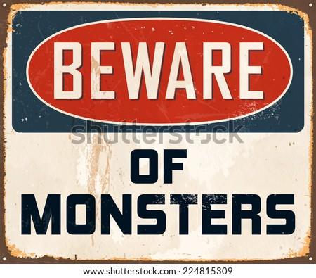 vintage metal sign   beware of