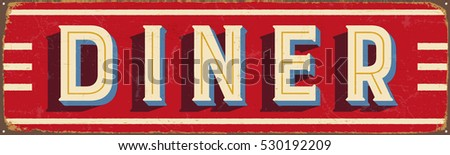 Vintage metal sign - Diner - Vector EPS10. Grunge and rusty effects can be easily removed for a cleaner look. Сток-фото ©