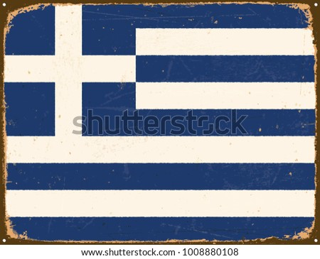 Vintage Metal Sign - Greece Flag - Vector EPS10. Grunge scratches and stain effects can be easily removed for a cleaner look.