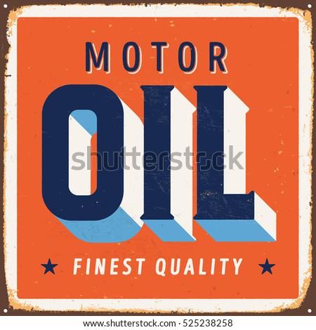 vintage metal sign   motor oil  ...