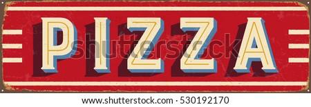 vintage metal sign   pizza ...
