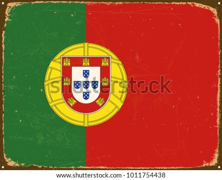 Vintage Metal Sign - Portugal Flag - Vector EPS10. Grunge scratches and stain effects can be easily removed for a cleaner look.