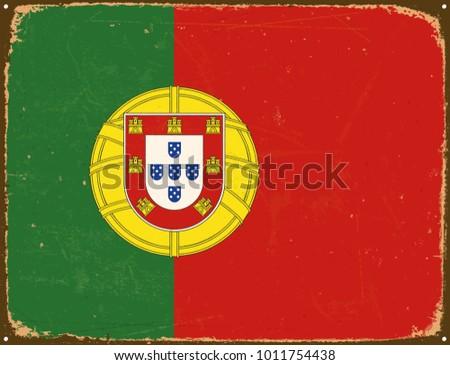 vintage metal sign   portugal...