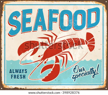 vintage metal sign   seafood