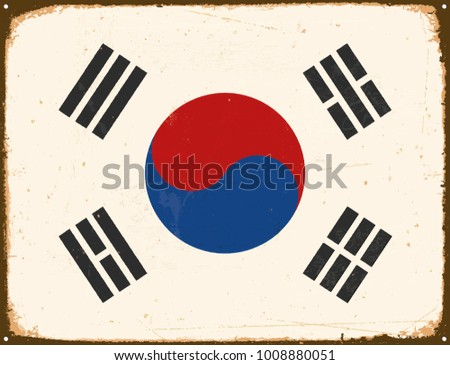 Vintage Metal Sign - South Korea Flag - Vector EPS10. Grunge scratches and stain effects can be easily removed for a cleaner look.