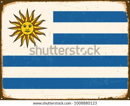 Vintage Metal Sign - Uruguay Flag - Vector EPS10. Grunge scratches and stain effects can be easily removed for a cleaner look.