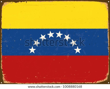 Vintage Metal Sign - Venezuela Flag - Vector EPS10. Grunge scratches and stain effects can be easily removed for a cleaner look.