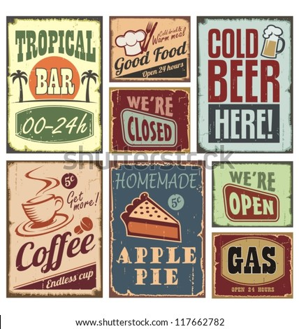 stock vector vintage metal style signs retro posters vector collection 117662782 - Каталог — Фотообои «Ретро»