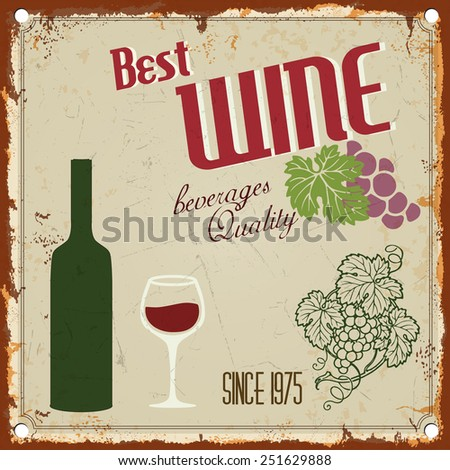 vintage metal wine sign   retro
