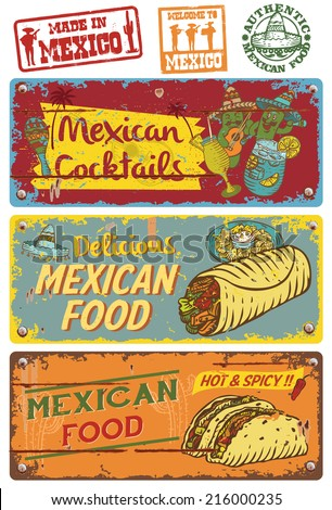 vintage mexican food sign