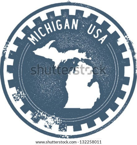 Vintage Michigan USA State Stamp